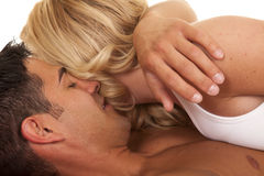 Woman lay on man hug Royalty Free Stock Photography