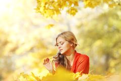 Woman laying on autumn leaves. Happy young woman laying on autumn leaves in park royalty free stock photo
