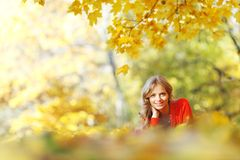Woman laying on autumn leaves. Happy young woman laying on autumn leaves in park royalty free stock image