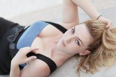 Woman laying back Royalty Free Stock Image
