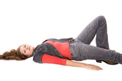 Woman laying on back looking Stock Images