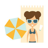 Woman Laying On Blanket On Sand Under Umbrella, Part Of Summer Beach Vacation Series Of Illustrations Royalty Free Stock Images