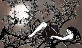 Woman laying on the branches illustration. Illustration of a woman laying on the branches in the night sky stock illustration