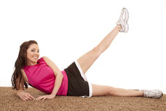 Woman Laying Fitness Leg Up Stock Photography