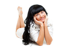 Woman laying on the floor royalty free stock photo