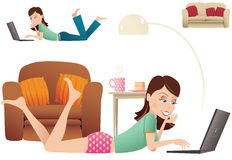 Woman laying with laptop Stock Images