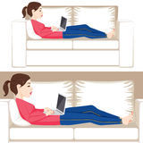 Woman Laying Sofa With Laptop Stock Photography