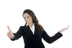 Woman leader, manager makes the workout. hands up Stock Image
