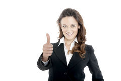 Woman leader, manager makes the workout. hands up Stock Photography