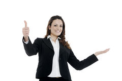 Woman leader, manager makes the workout. hands up Stock Images