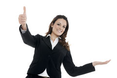Woman leader, manager makes the workout. hands up Royalty Free Stock Photography