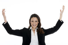 Woman leader, manager makes the workout. hands up Royalty Free Stock Images
