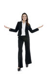 Woman leader, manager makes the workout. hands up Royalty Free Stock Photo