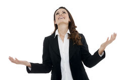 Woman leader, manager makes the workout. hands up Royalty Free Stock Photos