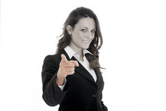 Woman leader, manager makes the workout. hands up Royalty Free Stock Image
