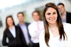 Woman leading a business group Stock Photos