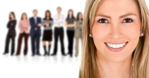 Woman leading a business team Royalty Free Stock Image