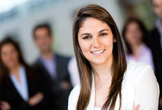 Woman leading a business team Stock Photography