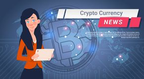 Woman Leading Crypto Currency News Report Golden Bitcoin Over World Map Digital Web Money Concept. Vector Illustration Royalty Free Stock Photo