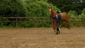 Woman leading her horse in paddock