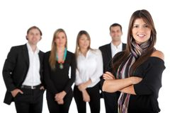 Woman leading a team Stock Images