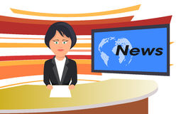 Woman leading TV news Royalty Free Stock Photography