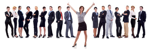 Woman leading a winning team Stock Photos