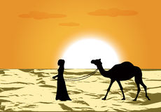 Woman leads a camel. Female silhouette leads a camel through the desert at sunset Stock Images