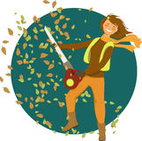 Woman with a leaf blower. Smiling cartoon woman using a leaf blower, circular background, vector illustration, leaves brush included stock illustration
