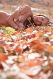 Woman in leafy autumn field Royalty Free Stock Images