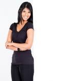 Woman lean on white board Royalty Free Stock Photo