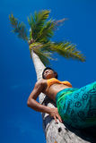 Woman leaning against coconut tree by a tropical b Stock Photography