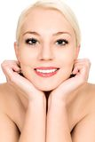 Woman leaning chin on hands stock photos
