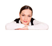 Woman leaning on copyspace Royalty Free Stock Images