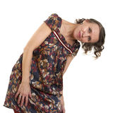 Woman leaning in the direction of her head to one Royalty Free Stock Image