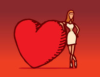 Woman leaning on huge valentine heart Stock Photography