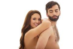 Woman leaning on man's back. Beautiful women leaning on man's back Royalty Free Stock Photos