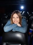 Woman Leaning On Seat At Cinema Theater Stock Photos