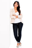 Woman leaning on the wall Royalty Free Stock Photo