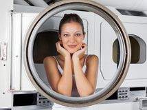 Woman Leaning On Washing Machine Door Stock Photos