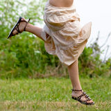 Woman Leaping In Field Royalty Free Stock Photography