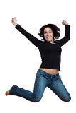 Woman leaping up Stock Images