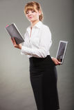 Woman learning with ebook and book. Education. Royalty Free Stock Photography