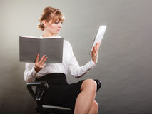 Woman learning with ebook and book. Education. Royalty Free Stock Photo