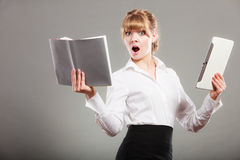 Woman learning with ebook and book. Education. Royalty Free Stock Images