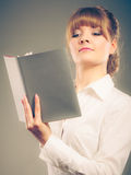 Woman learning reading book. Education leisure. Stock Photography