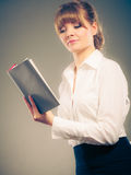 Woman learning reading book. Education leisure. Royalty Free Stock Photos