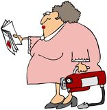 Woman Learning To Use A Fire Extinguisher. This illustration depicts a woman reading the operation manual for a fire extinguisher Royalty Free Stock Images