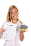 Woman with lease. A young woman has successfully completed a lease Royalty Free Stock Photos
