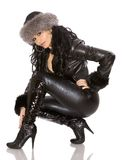 Woman in leather Royalty Free Stock Photo